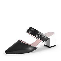millie's/妙丽2019春专柜同款羊皮革尖头粗跟后空女凉鞋19281AH9