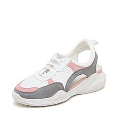 millie's/妙丽2019春专柜同款羊皮革织布时尚休闲女凉鞋S5388AH9