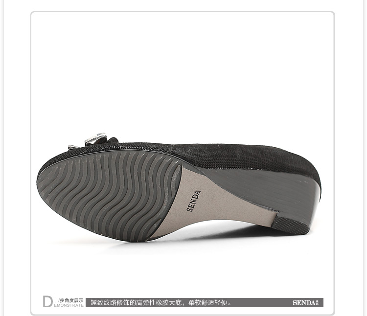 senda/森达秋季黑布羊女单鞋