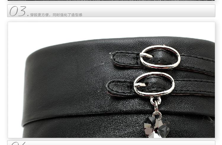 senda/森达 及踝靴冬季 常青款吊坠黑色牛皮女低靴4mq44dd1