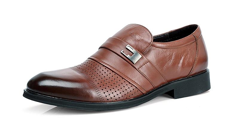 senda/森达夏季棕色牛皮男单鞋95312bk3打孔透气婚鞋系列
