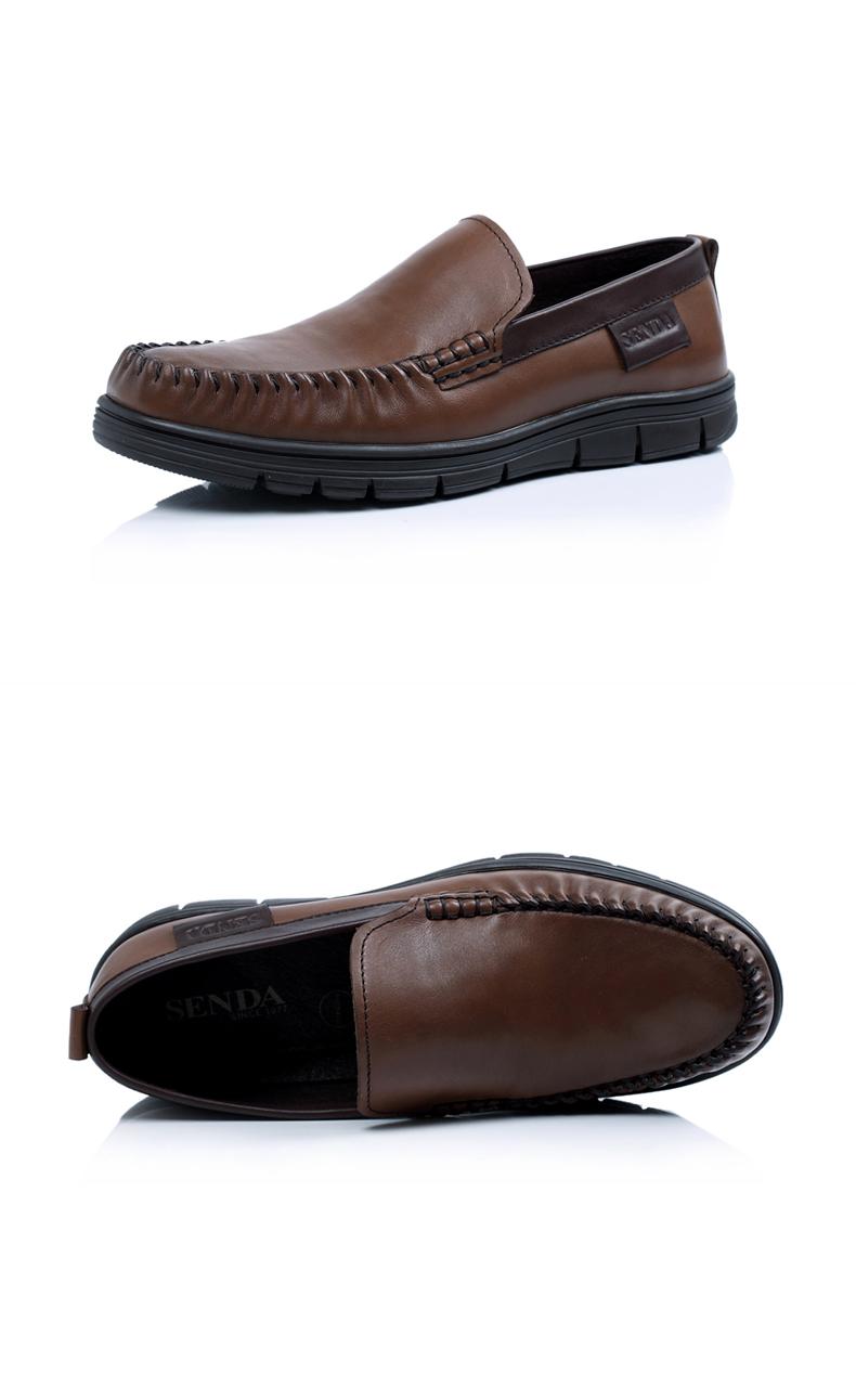 senda/森达秋季黑色蜡牛皮男单鞋2wk75cm3