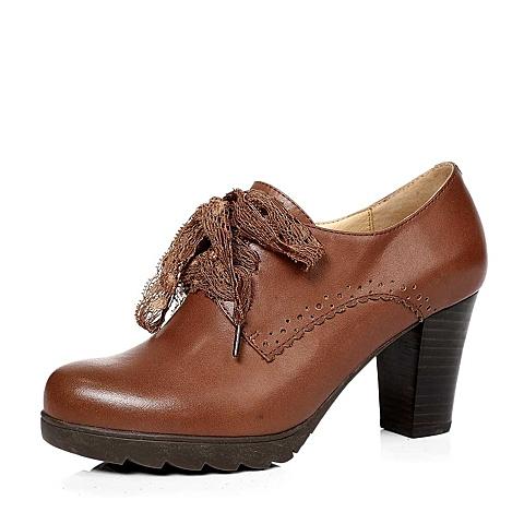 senda/森达秋季棕色蜡牛皮女单鞋4kz60cm3粗高跟方跟水台蕾丝带满帮