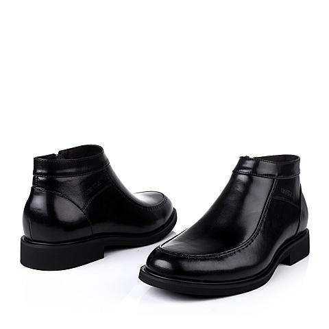 senda/森达冬季黑色牛皮男靴子a8991dd3绒里商务正装上班男冬靴
