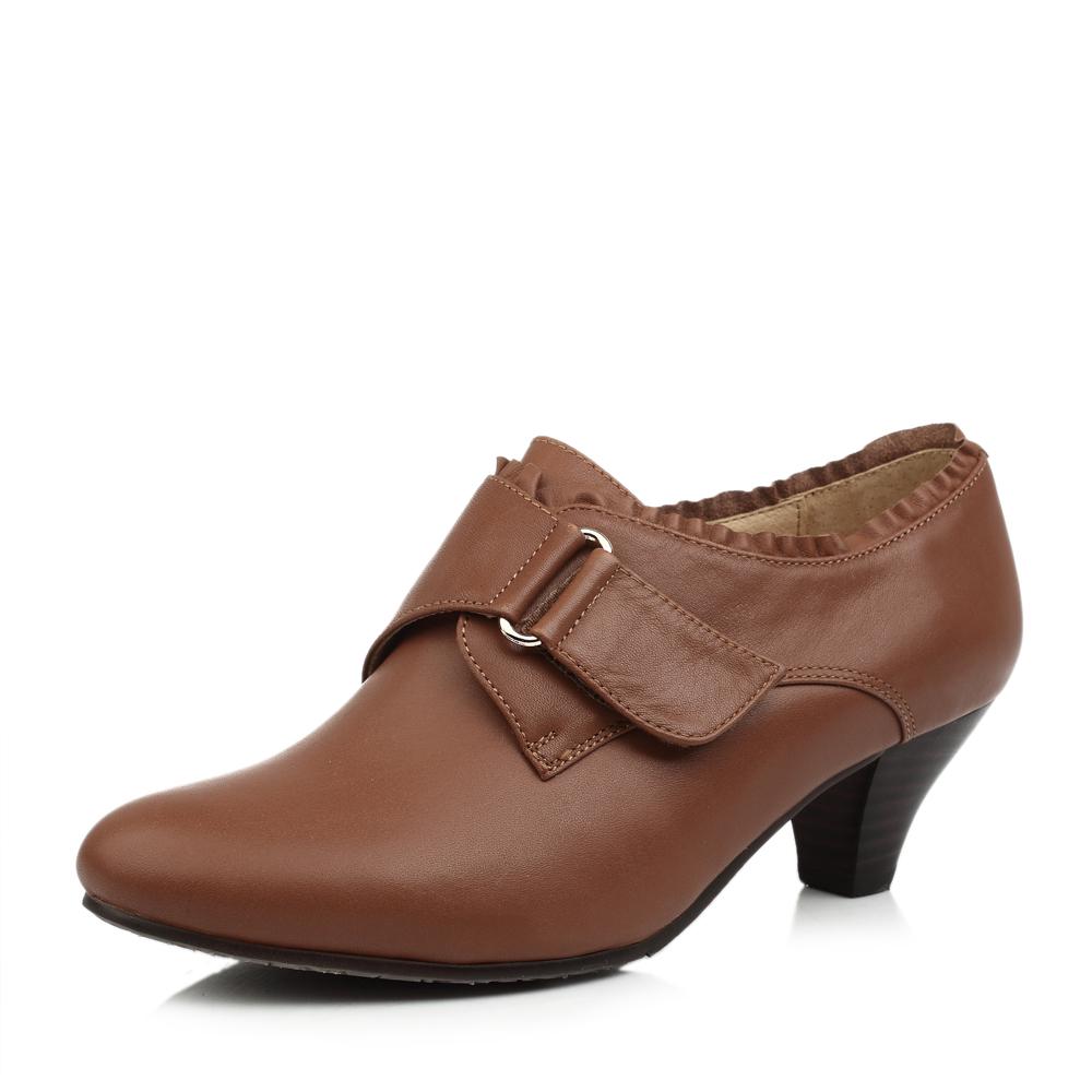senda/森达棕色蜡牛皮女皮鞋3kc22cm3秋季上班通勤女鞋