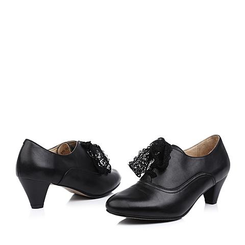 senda/森达黑色小牛皮女皮鞋4bd24cm3秋季真皮上班通勤女鞋