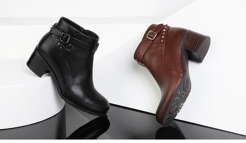 女鞋 靴子 森达靴子 senda/森达 冬季牛皮女短靴4oh46dd5  女鞋尺码表图片