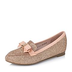 Senda/森达秋季专柜同款金色砂布/浅橙色蜡羊皮浅口女单鞋J3K22CQ5