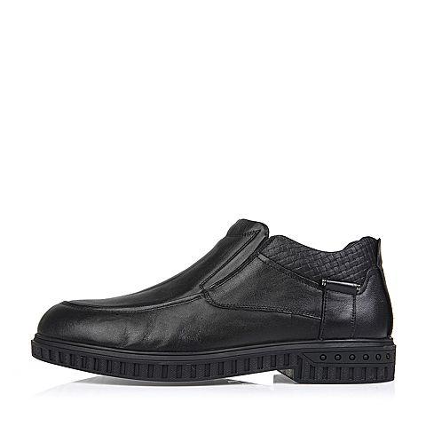 senda/森达冬季专柜同款黑色打蜡牛皮男皮鞋(绒里)hd142dd5