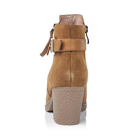 senda/森达冬季专柜同款土黄色牛皮/牛绒女靴3pn20dd5