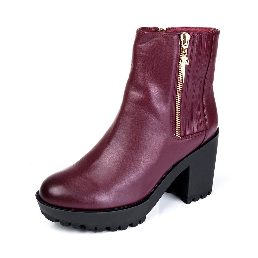 senda/森达冬季专柜同款深酒红色极光牛皮女靴3wn13