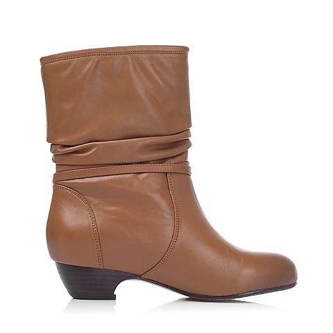 senda/森达冬季专柜同款浅棕蜡牛皮女靴4ms70dz5