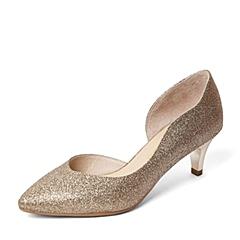 Senda/森达春季专柜同款金色金砂布女单凉鞋B3W02AK6 专柜1