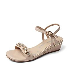 Senda/森达夏季专柜同款米色软羊皮女凉鞋E3B20BL6 专柜1