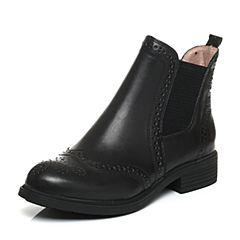 Senda/森达冬季专柜同款时尚舒适布洛克款式休闲女短靴3WS20DD6