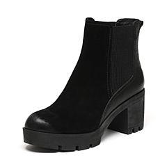 Senda/森达冬季专柜同款甜美女皮短靴厚底粗高跟3WX20DD6