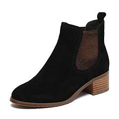 Senda/森达冬季专柜同款甜美休闲女短靴粗跟时装靴3WY20DD6