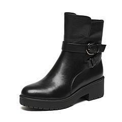 Senda/森达冬季专柜同款帅气女皮短靴皮带扣粗跟3PD22DD6