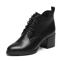 Senda/森达冬季专柜同款简约女皮短靴尖头绑带粗高跟3PI26DD6