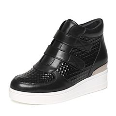 Senda/森达冬季专柜同款潮流蜡牛皮纹女短靴厚底N3C41DD6