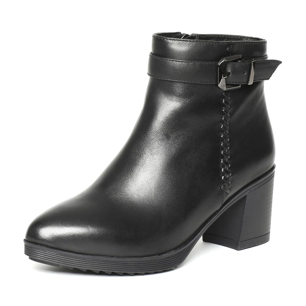 senda/森达2016冬季专柜同款黑色小牛皮时尚女靴n3o