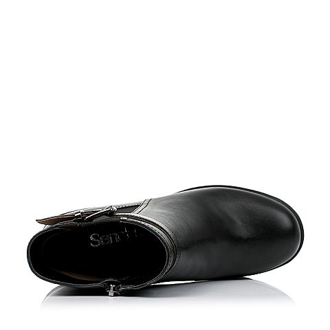 senda/森达2016冬季专柜同款黑色牛皮女皮靴短靴m3d