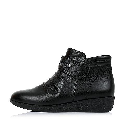 senda/森达2016冬季专柜同款黑色牛皮女皮靴短靴