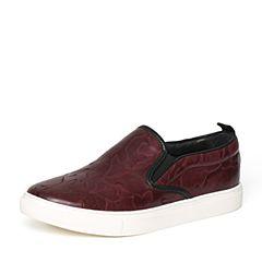 Senda/森达秋季专柜同款红色牛皮时尚男休闲鞋UT101CM6