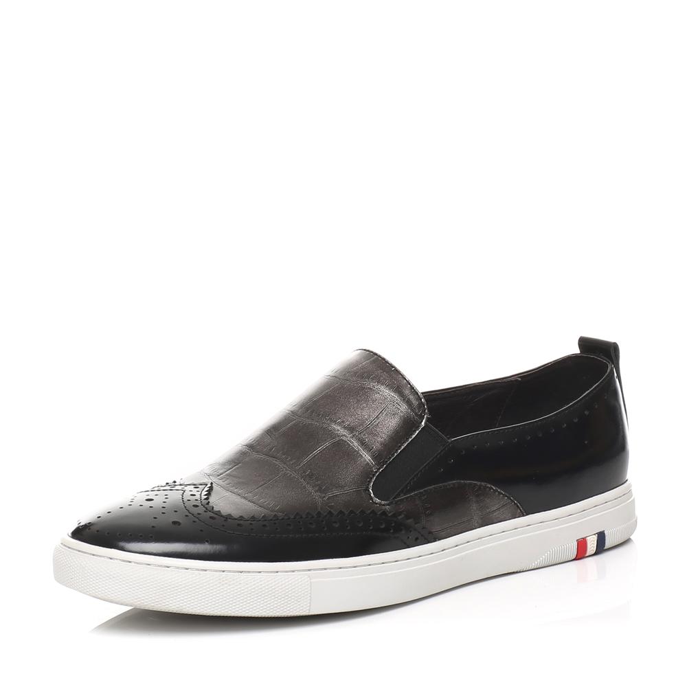 senda/森达春季专柜同款黑色牛皮男休闲鞋2rl01am6