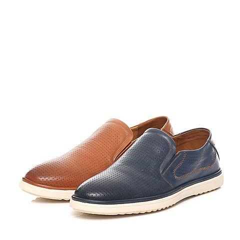 senda/森达2016夏季专柜同款蓝色打蜡牛皮男鞋iq111图片