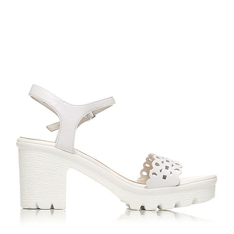 senda/森达夏季专柜同款白小牛皮革女凉鞋e3k20bl6