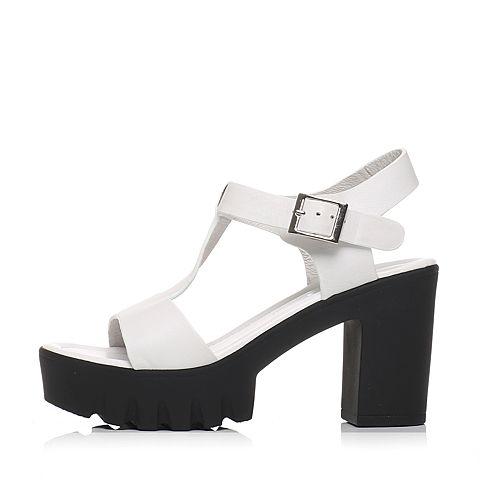 senda/森达2016夏季专柜同款白软牛皮女凉鞋f3j04bl6