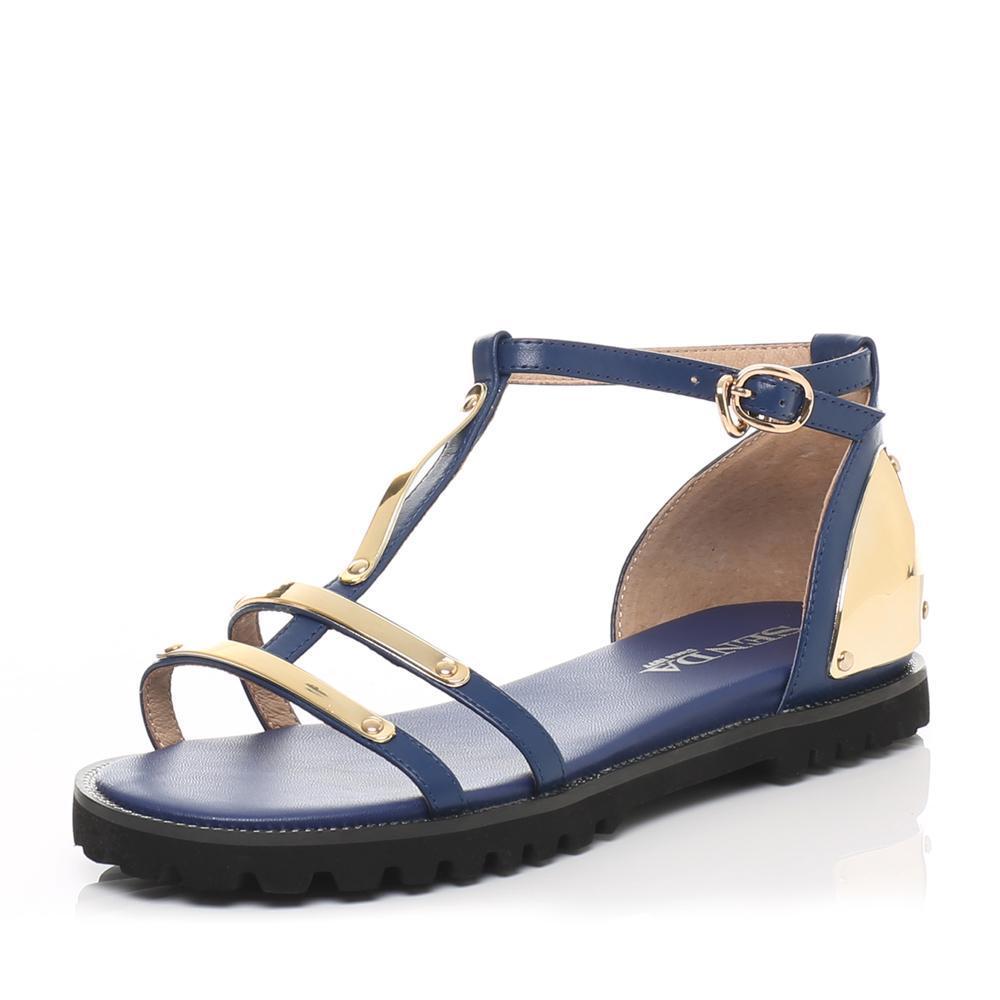 senda/森达夏季专柜同款蓝牛皮女凉鞋3he26bl6