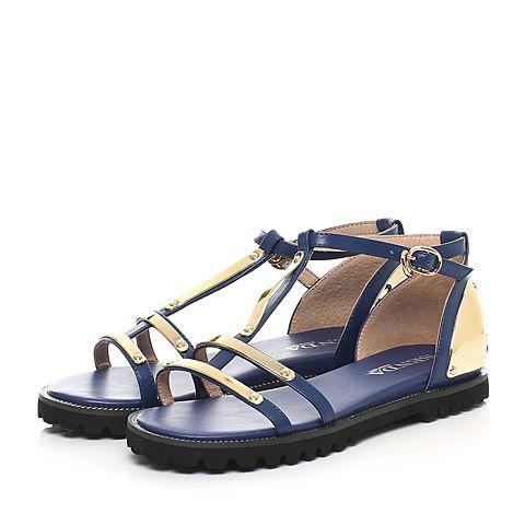 senda/森达2016夏季专柜同款蓝牛皮女凉鞋3he26bl6