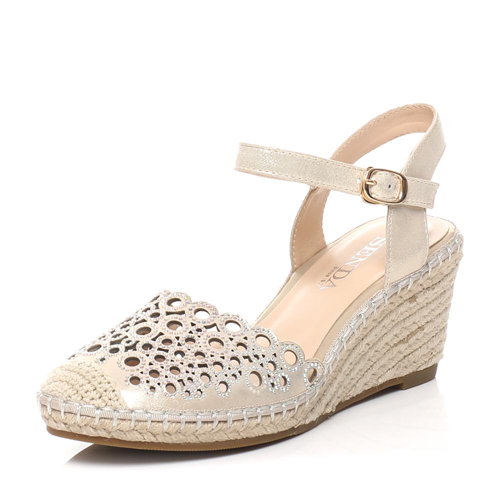 senda/森达2016夏季专柜同款金色布纹羊皮女凉鞋3sl20bh6