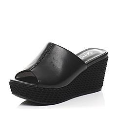 Senda/森达夏季专柜同款黑小牛皮/黑羊绒皮女凉拖鞋F3F01BT6