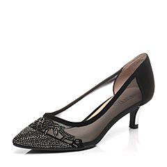 Senda/森达2017春季专柜同款黑色羊反绒/织物女鞋3QH15AQ7
