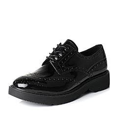 Senda/森达2017春季时尚黑色漆牛皮女鞋D12A0AM7