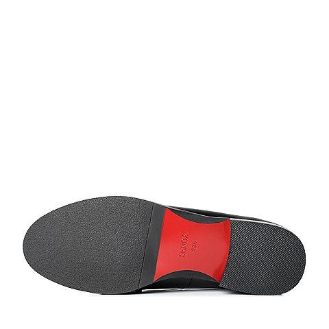senda/森达2017春季黑色漆牛皮/织物女单鞋c0571am7