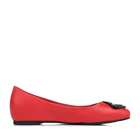 senda/森达夏季红色牛皮女休闲鞋210-2bq7