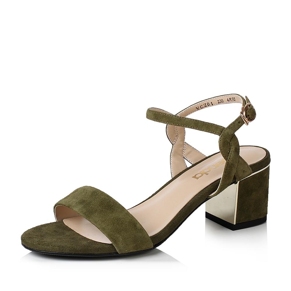 senda/森达夏季时尚优雅气质绒面粗跟女高跟凉鞋vcz01
