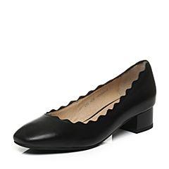 Senda/森达2017秋季新款专柜同款气质女单鞋方头中粗跟VCA04CQ7