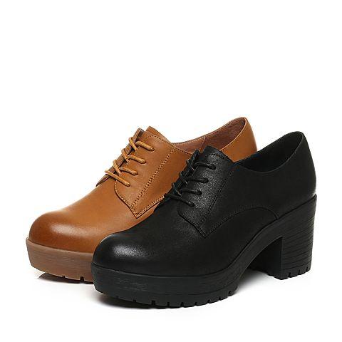 senda/森达秋季新款专柜同款英伦休闲女单鞋粗高跟3cu20cm7