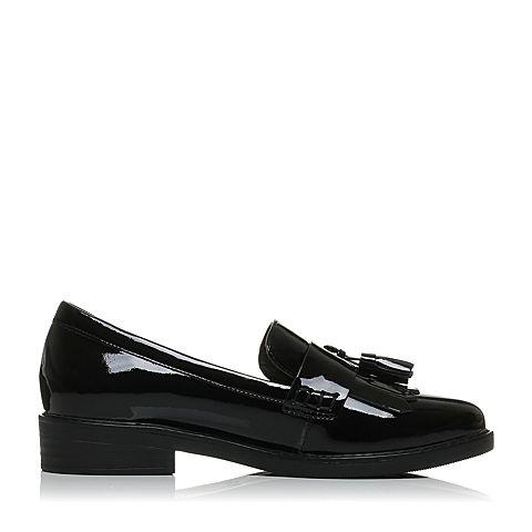 senda/森达2017秋季新款专柜同款英伦女单鞋流苏中跟vad28cm7