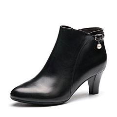 Senda/森达冬季专柜同款优雅女短靴尖头粗高跟VBY44DD7