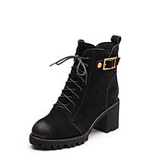 Senda/森达2017冬季新款专柜同款时尚潮流女短靴马丁靴3FH10DD7