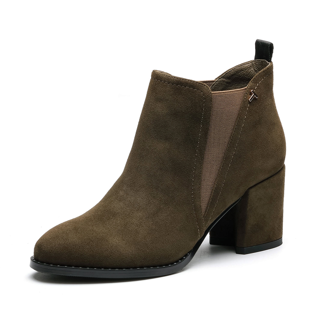 senda/森达冬季专柜同款时尚优雅女短靴高粗跟3du10dd7