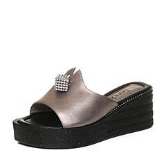 Senda/森达夏季专柜同款时尚优雅女高跟拖鞋3CM09BT7