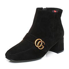 Senda/森达冬季羊绒面女短靴方头皮带扣粗高跟508-2DD7