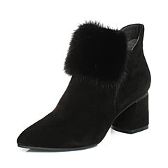 Senda/森达2017冬季新款毛绒女短靴尖头粗高跟216-2DD7